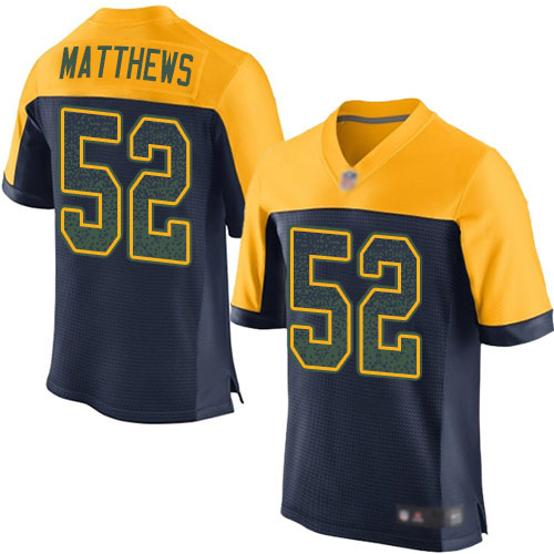 Men's Clay Matthews Navy Blue Alternate Elite Football Jersey: Green Bay Packers #52 Drift Fashion  Jersey