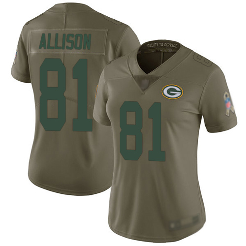Women's Geronimo Allison Olive Limited Football Jersey: Green Bay Packers #81 2017 Salute to Service  Jersey