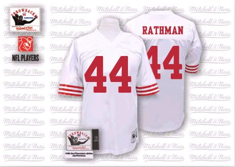 Men's Tom Rathman White Road Authentic Football Jersey: San Francisco 49ers #44 Throwback Mitchell and Ness Jersey