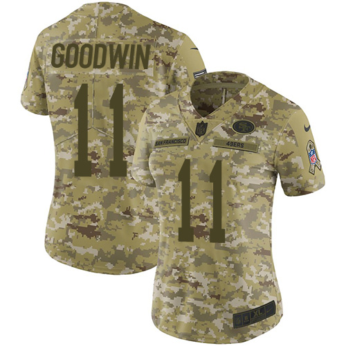 Women's Marquise Goodwin Camo Limited Football Jersey: San Francisco 49ers #11 2018 Salute to Service  Jersey