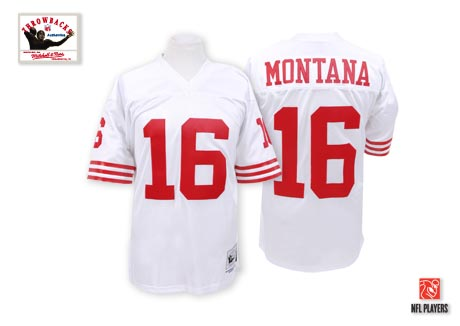 Men's Joe Montana White Road Authentic Football Jersey: San Francisco 49ers #16 Throwback Mitchell and Ness Jersey