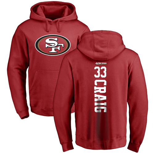 Roger Craig Red Backer Football : San Francisco 49ers #33 Pullover Hoodie