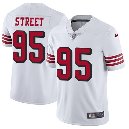 Men's Kentavius Street White Elite Football Jersey: San Francisco 49ers #95 Rush Vapor Untouchable  Jersey