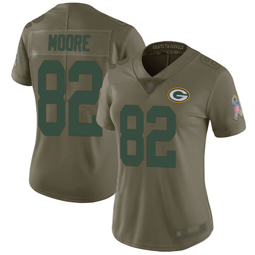 Women's J'Mon Moore Olive Limited Football Jersey: Green Bay Packers #82 2017 Salute to Service  Jersey