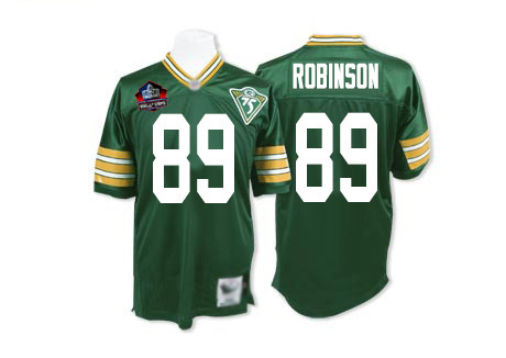 Men's Dave Robinson Green Home Authentic Football Jersey: Green Bay Packers #89 Hall of Fame Throwback 75th Patch Mitchell and Ness Jersey