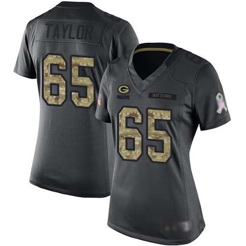 Women's Lane Taylor Black Limited Football Jersey: Green Bay Packers #65 2016 Salute to Service  Jersey