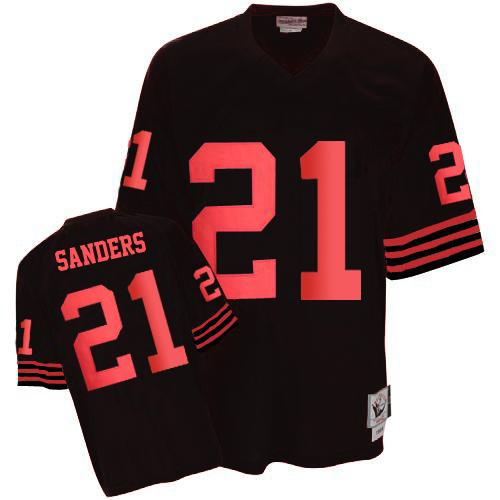 Men's Deion Sanders Black Authentic Football Jersey: San Francisco 49ers #21 Throwback Mitchell and Ness Jersey