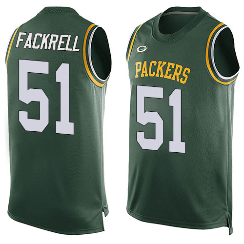 Men's Kyler Fackrell Green Limited Football Jersey: Green Bay Packers #51 Player Name & Number Tank Top  Jersey