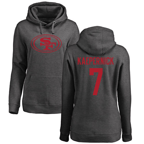 Women's Colin Kaepernick Ash One Color Football : San Francisco 49ers #7 Pullover Hoodie