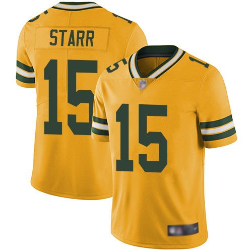 Youth Bart Starr Gold Limited Football Jersey: Green Bay Packers #15 Rush Vapor Untouchable  Jersey