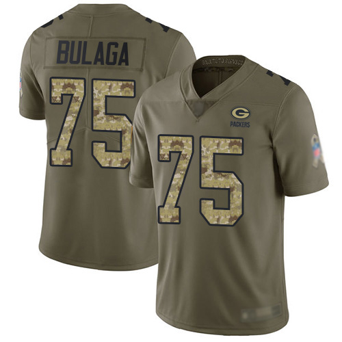 Men's Bryan Bulaga Olive/Camo Limited Football Jersey: Green Bay Packers #75 2017 Salute to Service  Jersey