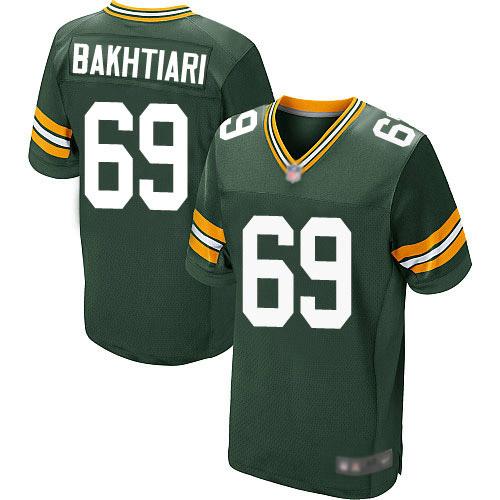 Men's David Bakhtiari Green Home Elite Football Jersey: Green Bay Packers #69  Jersey