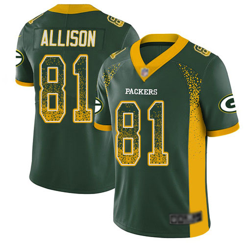 Men's Geronimo Allison Green Limited Football Jersey: Green Bay Packers #81 Rush Drift Fashion  Jersey