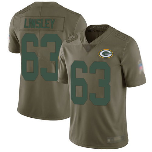 Men's Corey Linsley Olive Limited Football Jersey: Green Bay Packers #63 2017 Salute to Service  Jersey