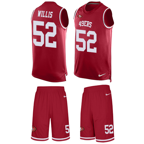 Men's Patrick Willis Red Limited Football Jersey: San Francisco 49ers #52 Tank Top Suit  Jersey