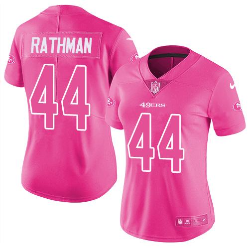Women's Tom Rathman Pink Limited Football Jersey: San Francisco 49ers #44 Rush Fashion  Jersey