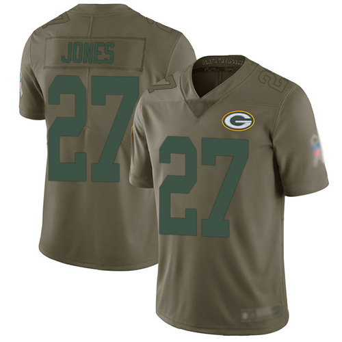 Men's Josh Jones Olive Limited Football Jersey: Green Bay Packers #27 2017 Salute to Service  Jersey