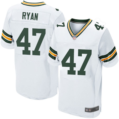 Men's Jake Ryan White Road Elite Football Jersey: Green Bay Packers #47  Jersey