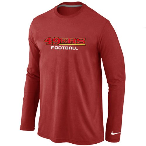 San Francisco 49ers Authentic Font Long Sleeve Football T-Shirt - Red