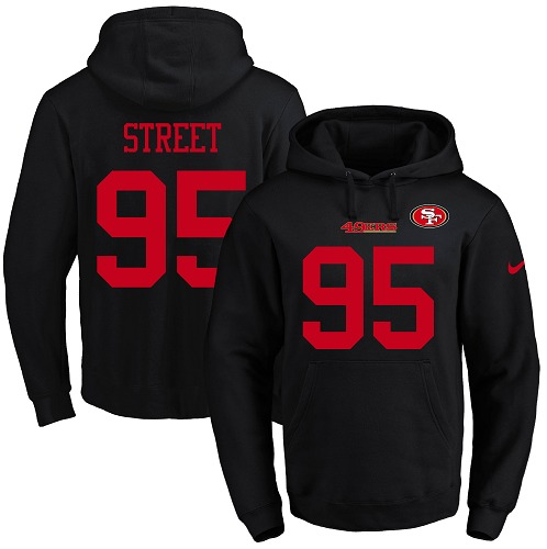 Football Men's  San Francisco 49ers #95 Kentavius Street Black Name & Number Pullover Hoodie
