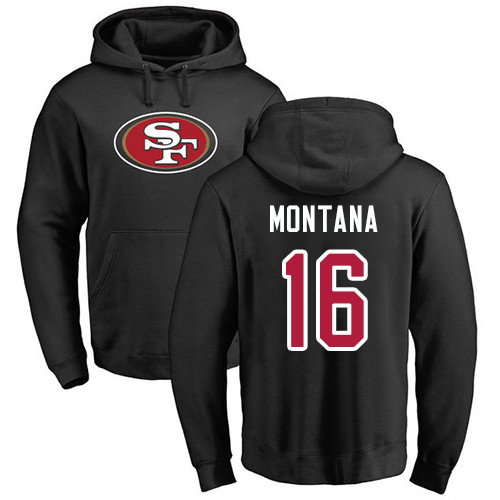 Joe Montana Black Name & Number Logo Football : San Francisco 49ers #16 Pullover Hoodie
