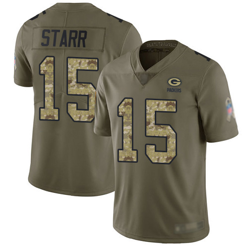 Men's Bart Starr Olive/Camo Limited Football Jersey: Green Bay Packers #15 2017 Salute to Service  Jersey