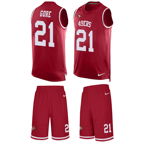 Men's Frank Gore Red Limited Football Jersey: San Francisco 49ers #21 Tank Top Suit  Jersey