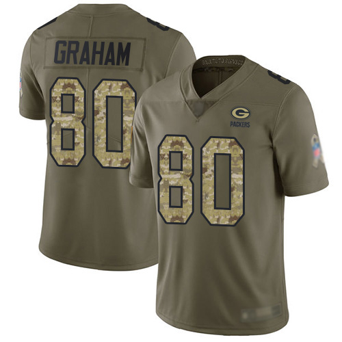 Men's Jimmy Graham Olive/Camo Limited Football Jersey: Green Bay Packers #80 2017 Salute to Service  Jersey