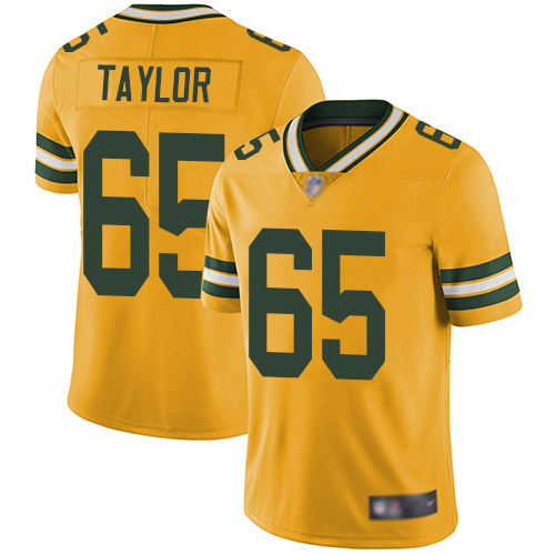 Men's Lane Taylor Gold Elite Football Jersey: Green Bay Packers #65 Rush Vapor Untouchable  Jersey