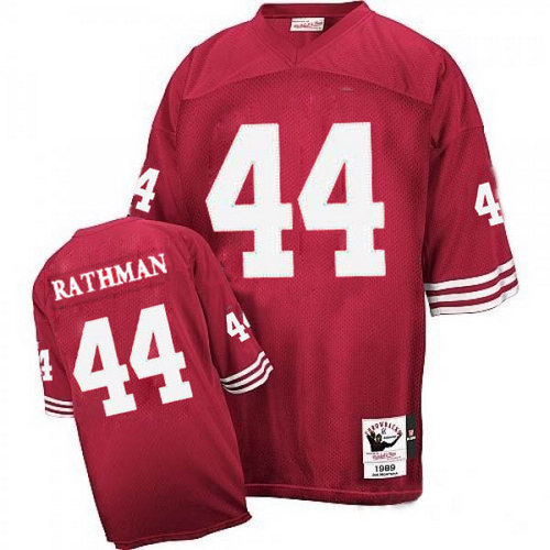 Men's Tom Rathman Red Home Authentic Football Jersey: San Francisco 49ers #44 Throwback Mitchell and Ness Jersey