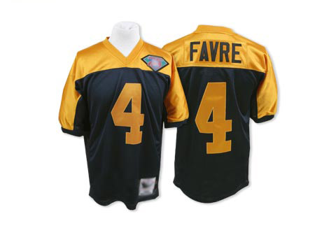 Men's Brett Favre Navy Blue/Gold Authentic Football Jersey: Green Bay Packers #4 Throwback 75th Patch Mitchell and Ness Jersey