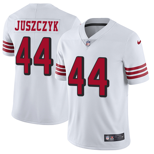 Youth Kyle Juszczyk White Limited Football Jersey: San Francisco 49ers #44 Rush Vapor Untouchable  Jersey