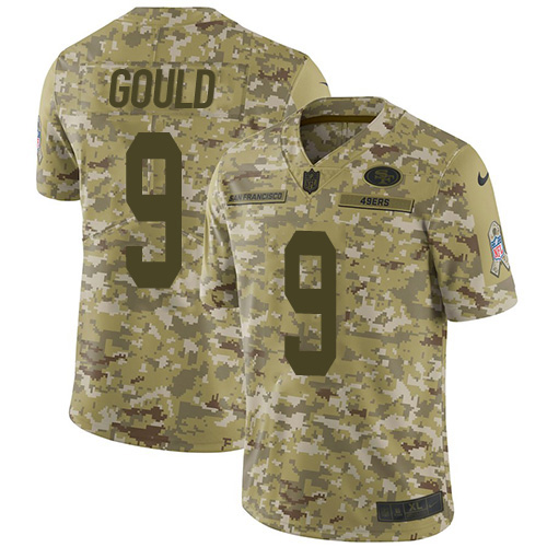 Youth Robbie Gould Camo Limited Football Jersey: San Francisco 49ers #9 2018 Salute to Service  Jersey