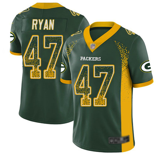 Men's Jake Ryan Green Limited Football Jersey: Green Bay Packers #47 Rush Drift Fashion  Jersey