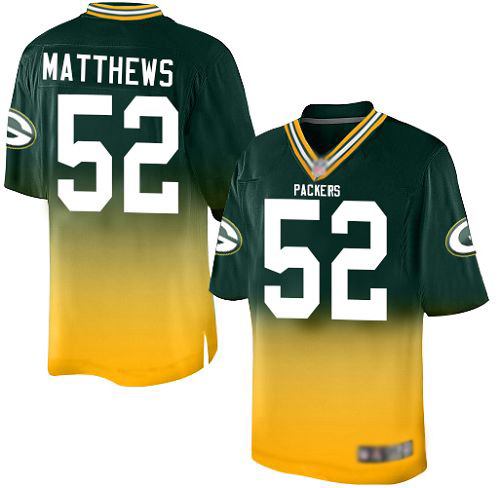 Youth Clay Matthews Green/Gold Elite Football Jersey: Green Bay Packers #52 Fadeaway  Jersey