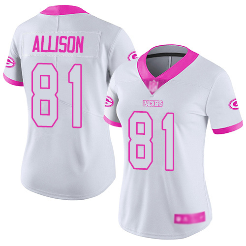 Women's Geronimo Allison White/Pink Limited Football Jersey: Green Bay Packers #81 Rush Fashion  Jersey