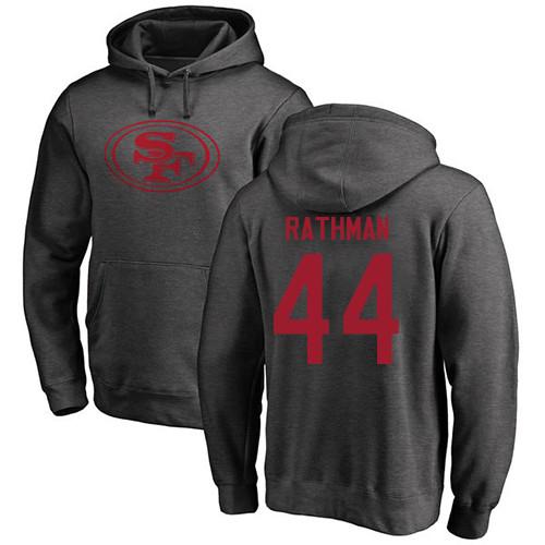 Tom Rathman Ash One Color Football : San Francisco 49ers #44 Pullover Hoodie