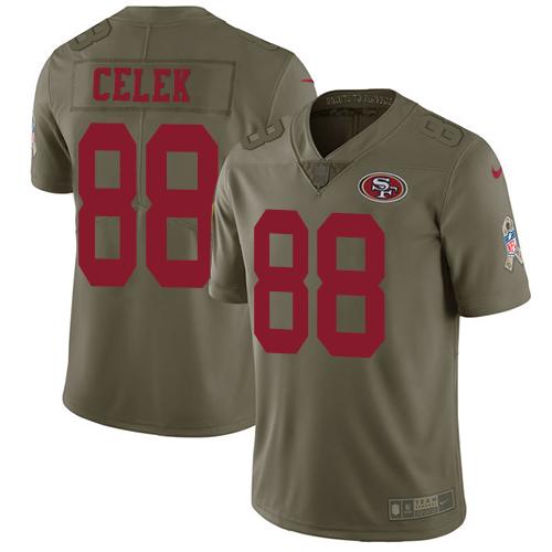 Men's Garrett Celek Olive Limited Football Jersey: San Francisco 49ers #88 2017 Salute to Service  Jersey