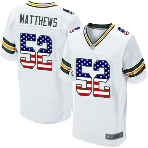 Men's Clay Matthews White Road Elite Football Jersey: Green Bay Packers #52 USA Flag Fashion  Jersey