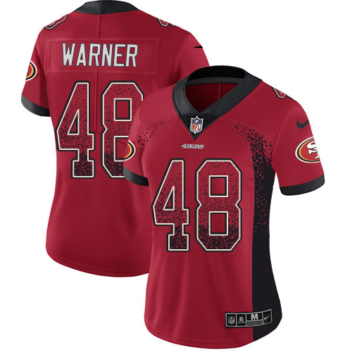 Women's Fred Warner Red Limited Football Jersey: San Francisco 49ers #48 Rush Drift Fashion  Jersey