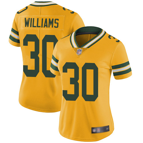 Women's Jamaal Williams Gold Limited Football Jersey: Green Bay Packers #30 Rush Vapor Untouchable  Jersey