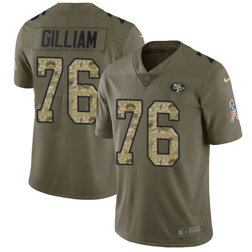 Men's Garry Gilliam Olive/Camo Limited Football Jersey: San Francisco 49ers #76 2017 Salute to Service  Jersey
