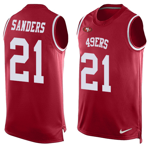 Men's Deion Sanders Red Limited Football Jersey: San Francisco 49ers #21 Player Name & Number Tank Top  Jersey