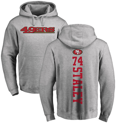Joe Staley Ash Backer Football : San Francisco 49ers #74 Pullover Hoodie