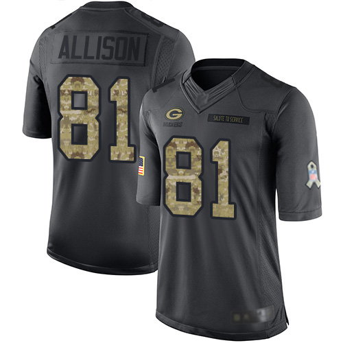 Men's Geronimo Allison Black Limited Football Jersey: Green Bay Packers #81 2016 Salute to Service  Jersey