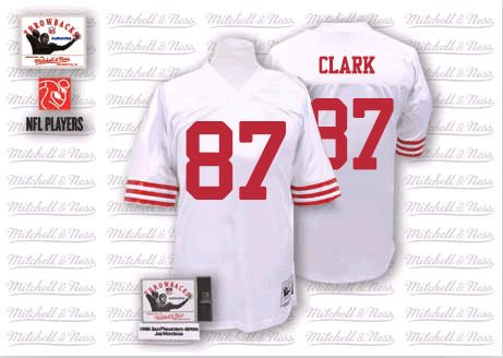 Men's Dwight Clark White Road Authentic Football Jersey: San Francisco 49ers #87 Throwback Mitchell and Ness Jersey
