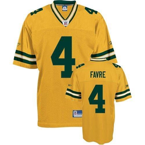 Men's Brett Favre Yellow Authentic Football Jersey: Green Bay Packers #4 Throwback  Jersey