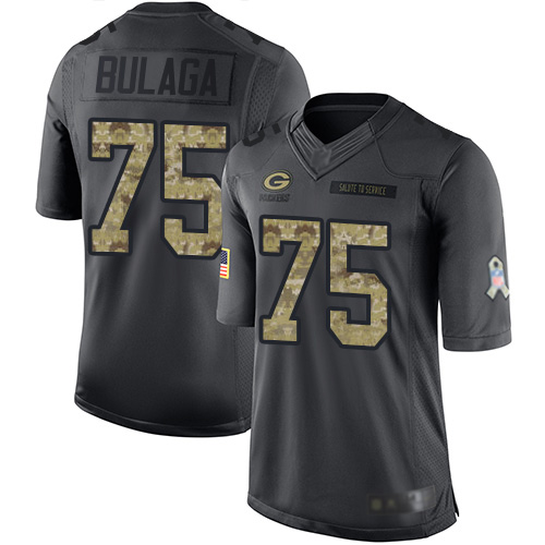 Men's Bryan Bulaga Black Limited Football Jersey: Green Bay Packers #75 2016 Salute to Service  Jersey