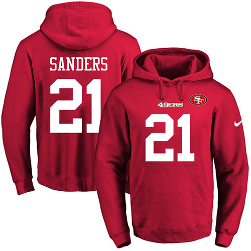Football Men's  San Francisco 49ers #21 Deion Sanders Red Name & Number Pullover Hoodie