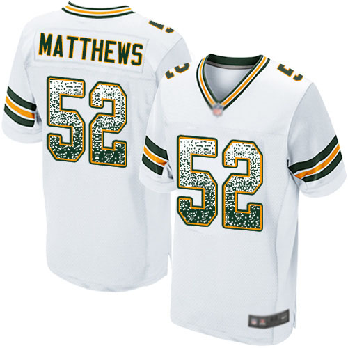 Men's Clay Matthews White Road Elite Football Jersey: Green Bay Packers #52 Drift Fashion  Jersey